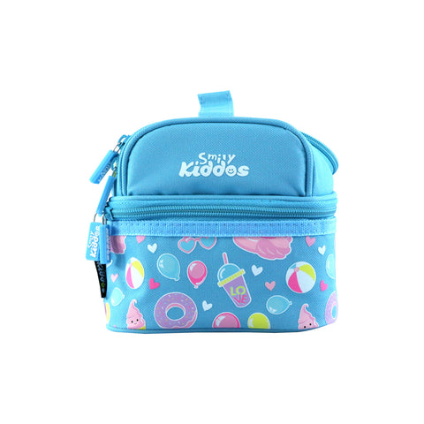 Image of Smily Dual Slot Lunch Bag Swan Theme (Light Blue)