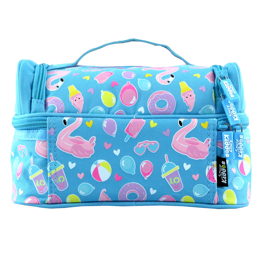 Smily Dual Slot Lunch Bag Swan Theme (Light Blue)