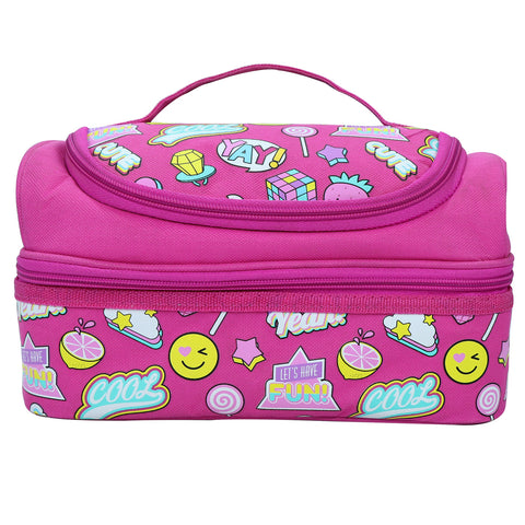 Smily Dual Slot Lunch Bag Fun Theme (Pink)