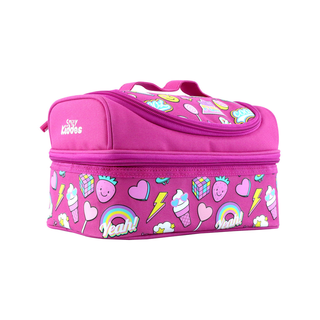 Smily Dual Slot Lunch Bag Fun Theme Pink