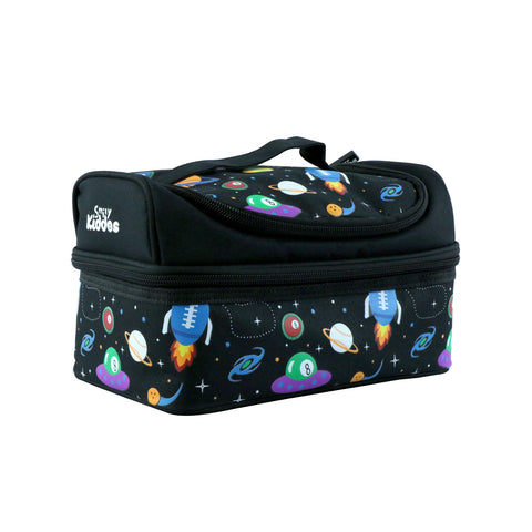 Smily Dual Slot Lunch Bag Space Theme Black