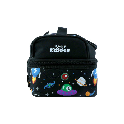 Smily Dual Slot Lunch Bag Space Theme (Black)