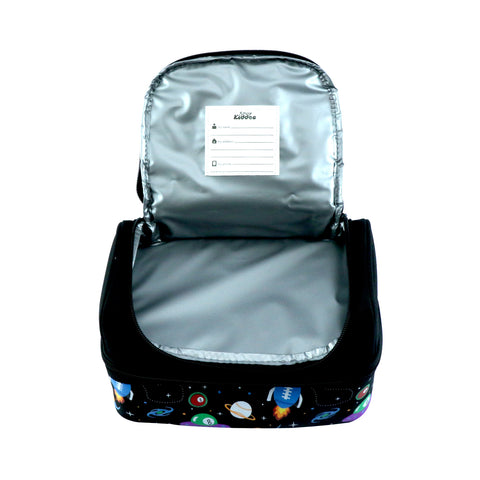 Image of Smily Dual Slot Lunch Bag Space Theme (Black)