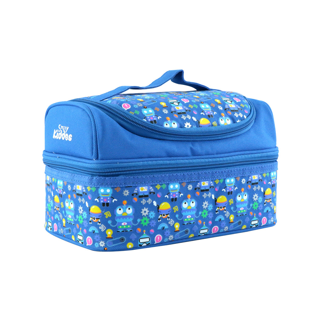 Smily Dual Slot Lunch Bag Crazy Robo Theme (Blue)