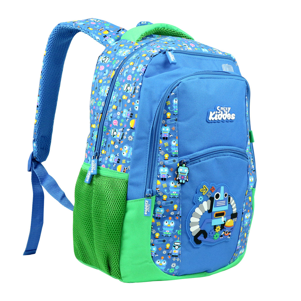 Smily Dual Color Backpack Crazy Robot Theme Blue