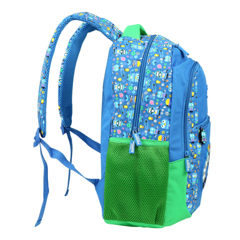 Smily Dual Color Backpack Crazy Robot Theme (Blue)