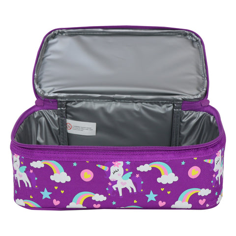 Smily Dual Slot Lunch Bag Unicorn Theme Purple