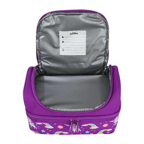 Image of Smily Dual Slot Lunch Bag Unicorn Theme Purple