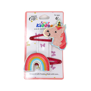 Glittery Rainbow Unicorn Hair Clip Set - 2