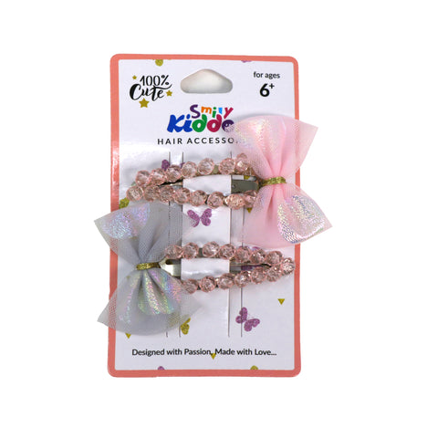Shiny Bow Hair Clip Set - 2