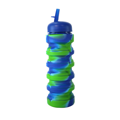 Image of Silicone Expandable & Foldable Water Bottle Dark Blue