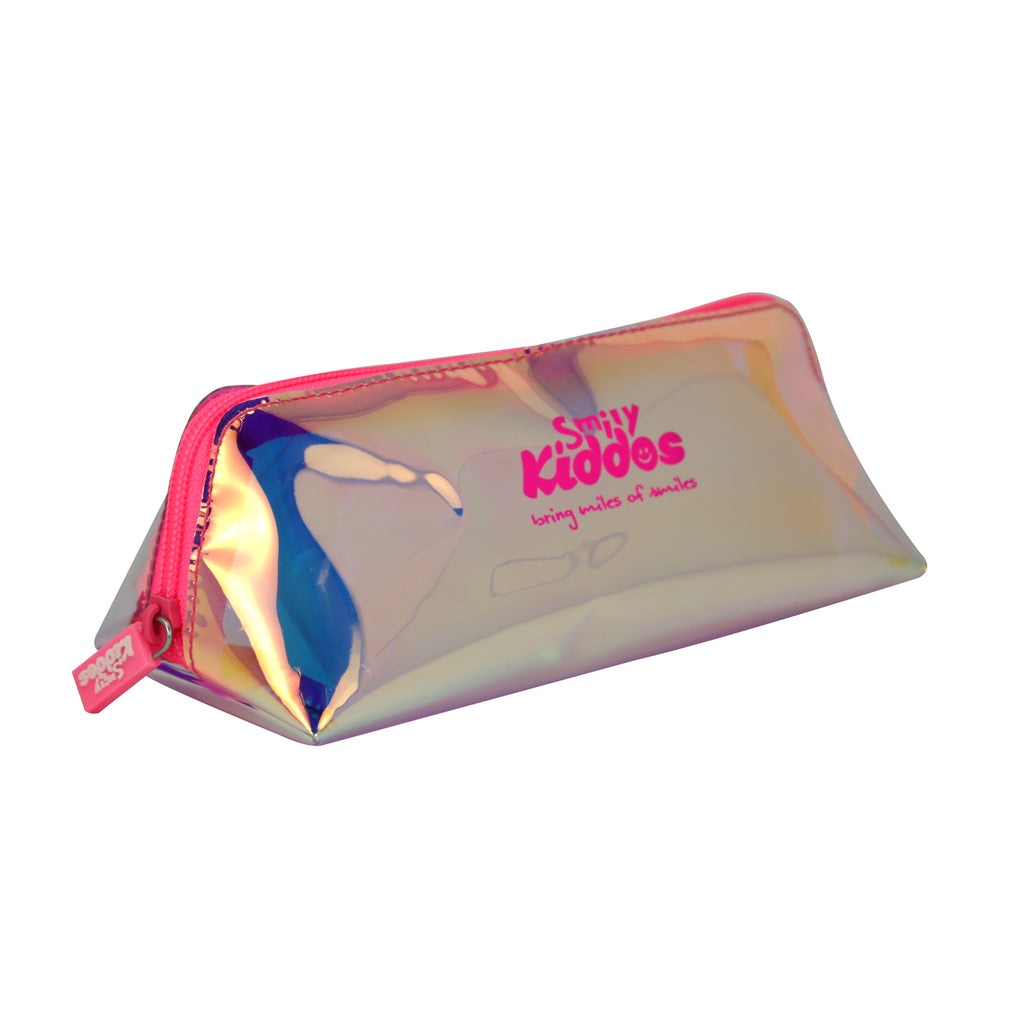 Smily Holograph Pencil Pouch Pink