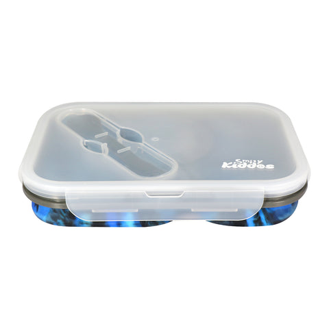 Silicon Expandable & Foldable Lunch Box Blue & Black