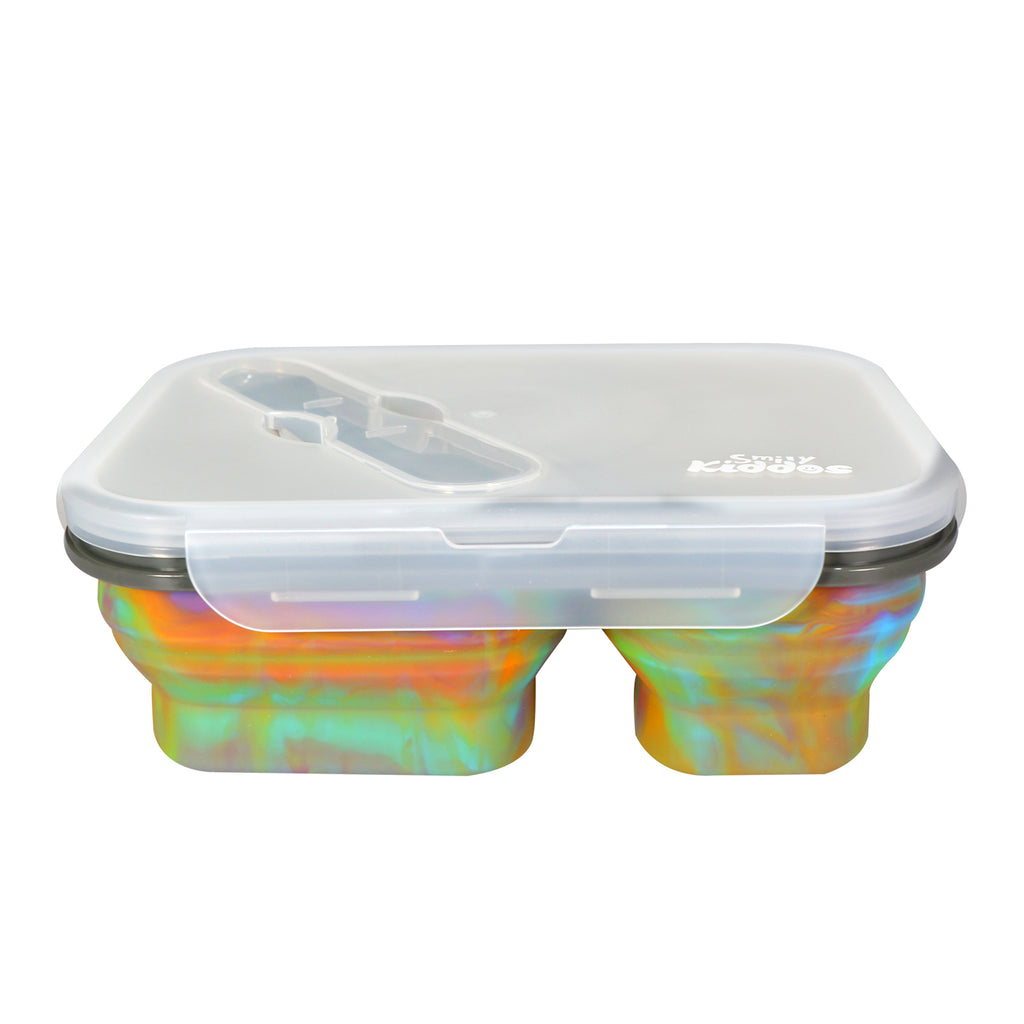 Silicone Expandable & Foldable Lunch Box Rainbow Color