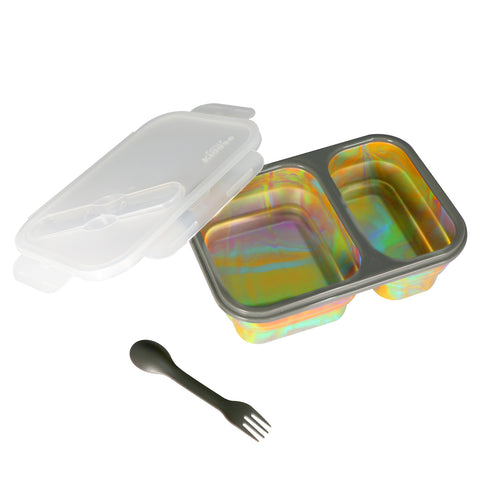 Image of Silicone Expandable & Foldable Lunch Box Rainbow Color