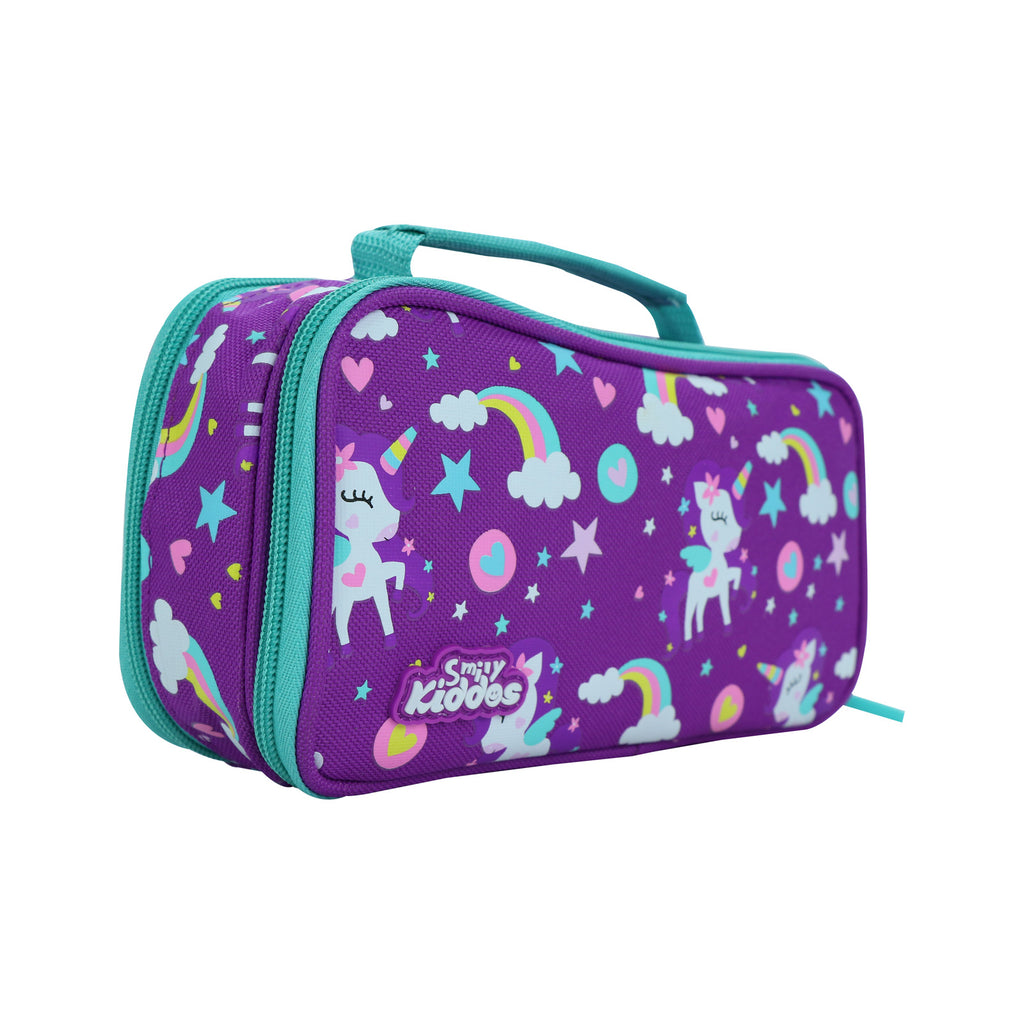 Smily Multipurpose Pencil Case Rainbow Unicorn Theme Purple