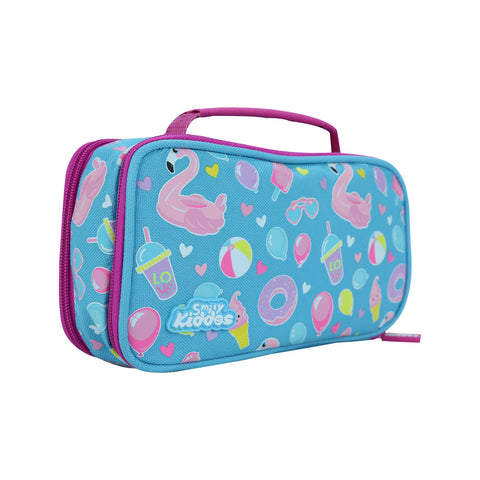 Image of Smily Multipurpose Pencil Case Swan Theme Light Blue