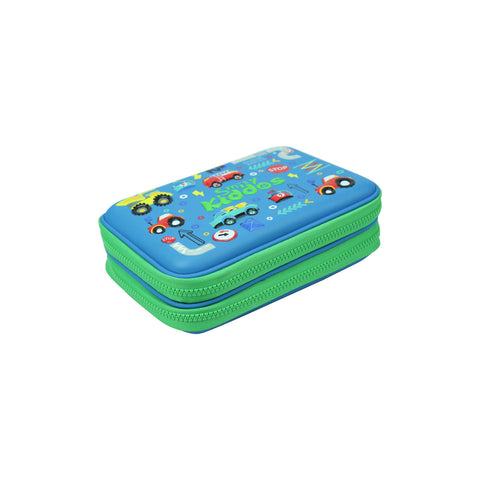 Smily Double Compartment Pencil Case Blue