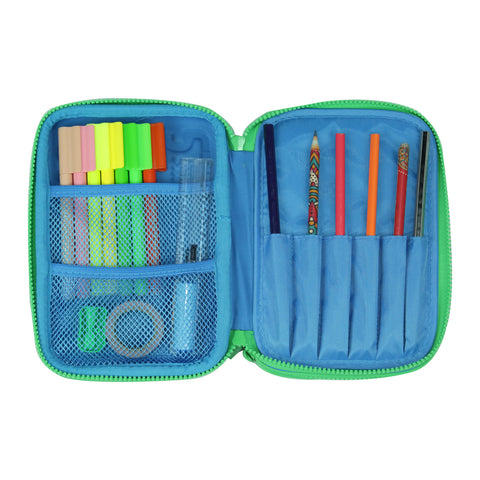 Image of Smily Double Compartment Pencil Case (Blue)