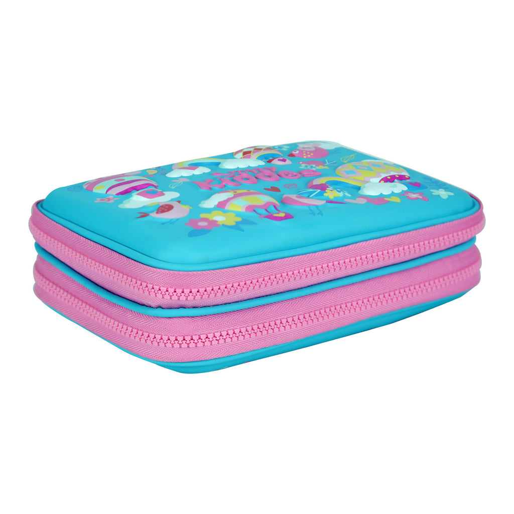 Smily Double Compartment Pencil Case (Light Blue)