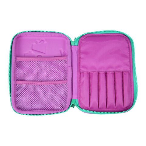 Smily Double Compartment Pencil Case (Purple)