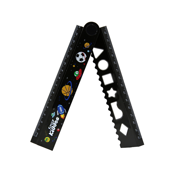 Smily Fold Up Ruler Black