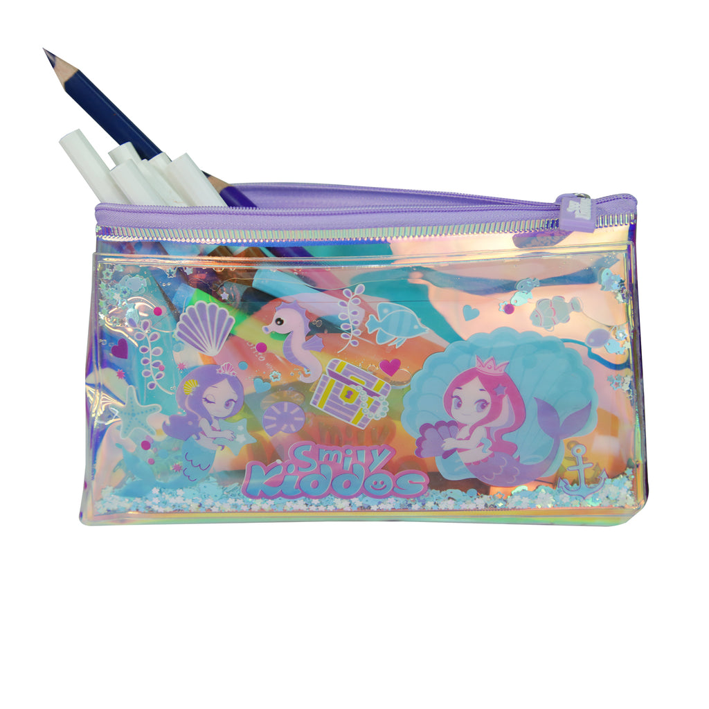 Smily Mermaid Pencil Pouch with Drift Glitter
