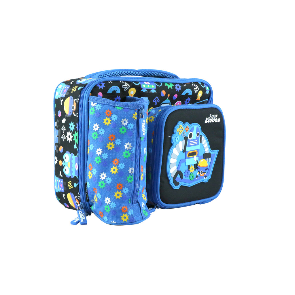 Smily Multi Compartment Lunch Bag ( Blue )