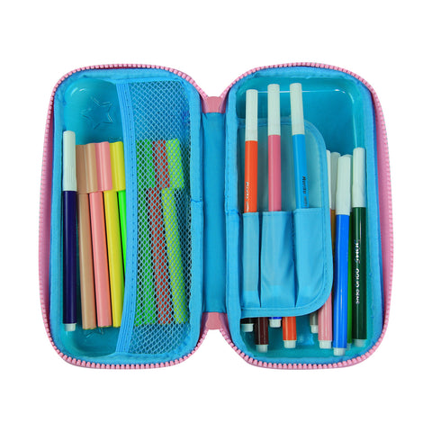 Smily PVC Small Pencil Case Light Blue