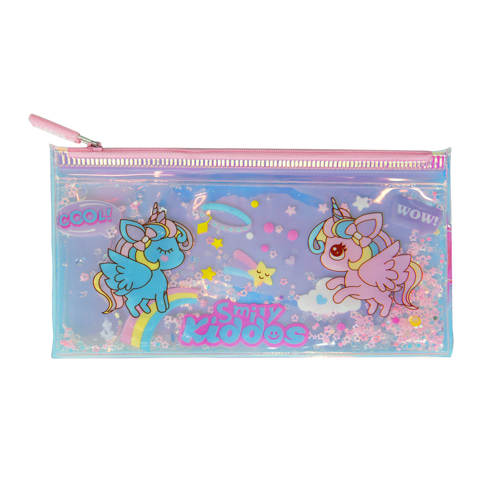 Smily Unicorn Pencil Pouch with Drift Glitter
