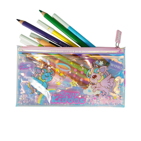 Image of Smily Unicorn Pencil Pouch with Drift Glitter