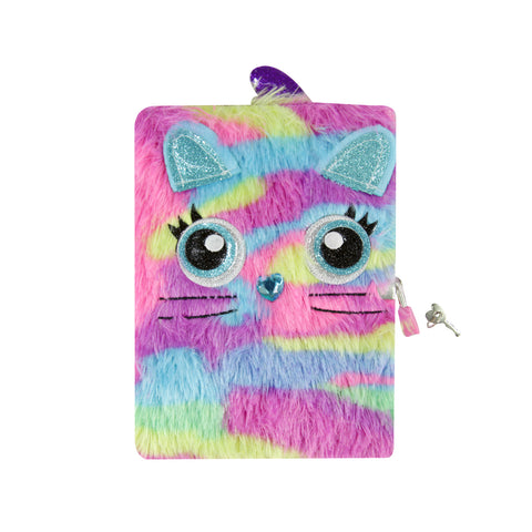 Image of Smily Fluffy Lockable Notebook Magenta