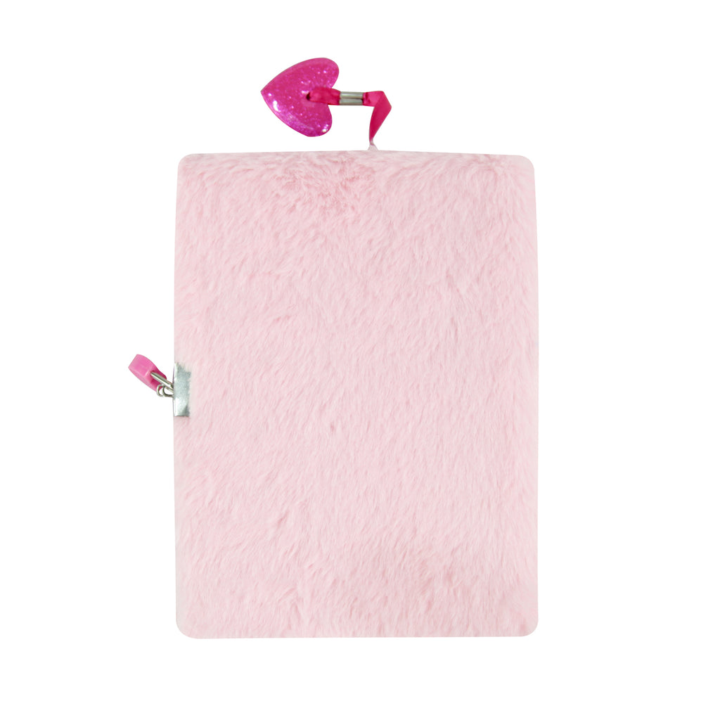 Smily Fluffy Lockable Notebook Pink