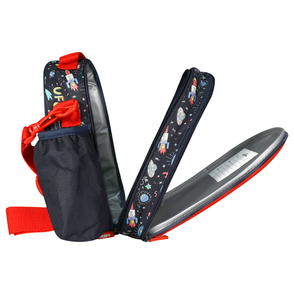 Kids Hardtop Lunch Bag Space Theme Red & Black