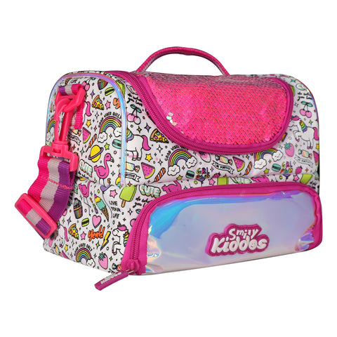 Double Compartment Holographic Lunch Bag Party Theme Pink