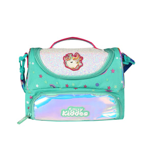 Double Compartment Holographic Lunch Bag Unicorn Theme Turquoise