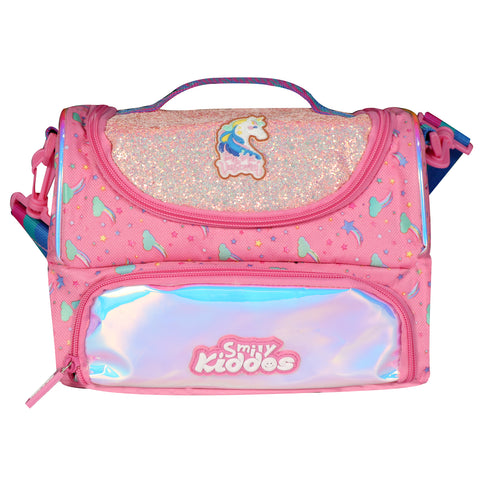 Double Compartment Holographic Lunch Bag Unicorn Theme Pink
