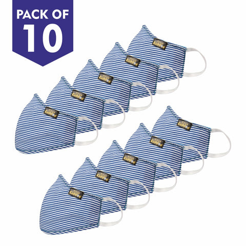 Image of PACK OF 10 REUSABLE COTTON MASK BLUE