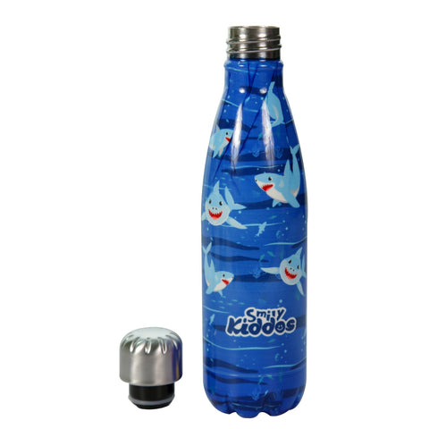 Smily Kiddos Water Bottle Blue-Shark Theme