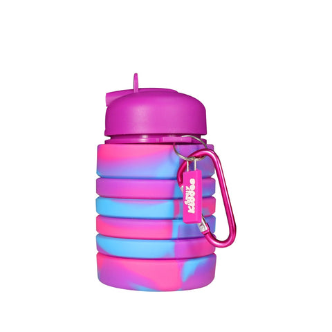 Image of Silicone Expandable & Foldable Water Bottle Purple & Pink