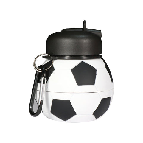 Silicone Expandable & Foldable Football Water Bottle Black & White