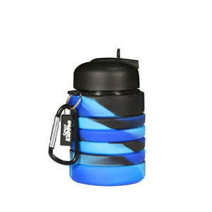 Silicone Expandable & Foldable Water Bottle Black & Blue
