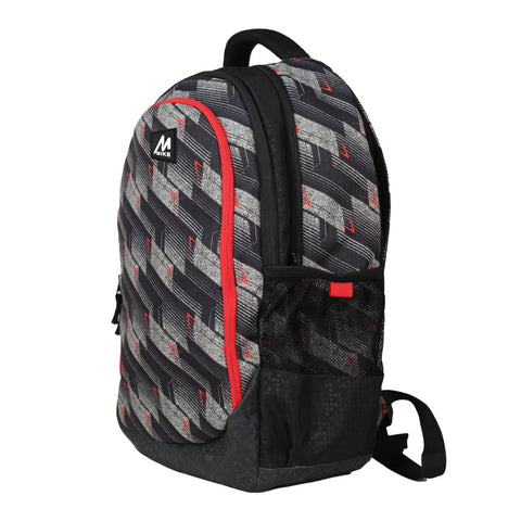 Image of Mike Graphic Print Laptop Backpack - Black & Red