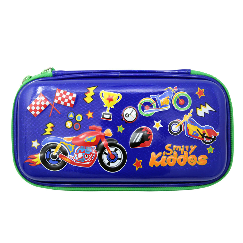 Motor Racing Small Pencil Case Blue