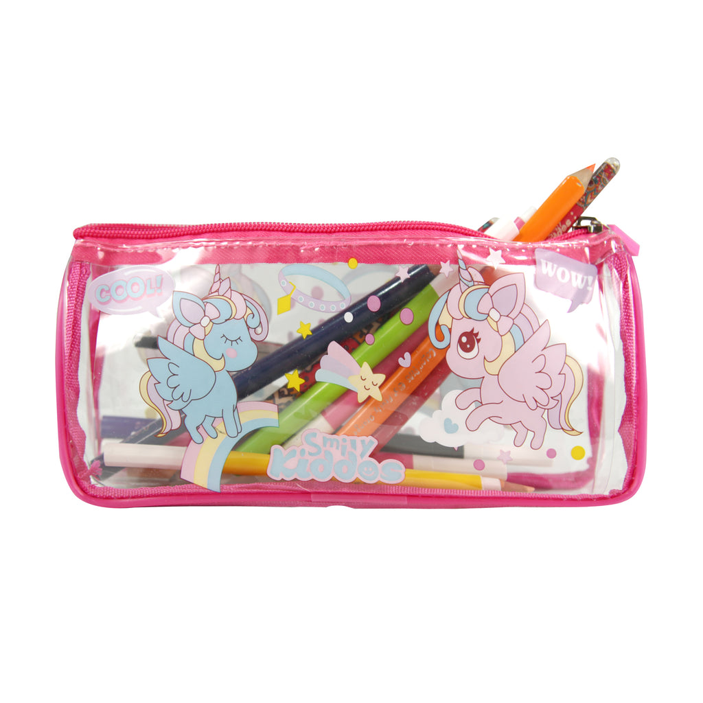 Smily Unicorn Transparent Pencil Pouch