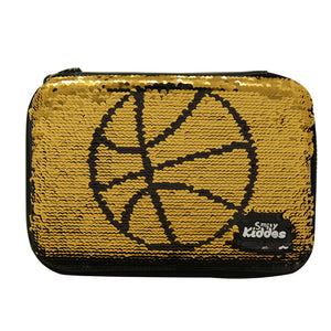 Smily Bling Basket Ball Pencil Case Black
