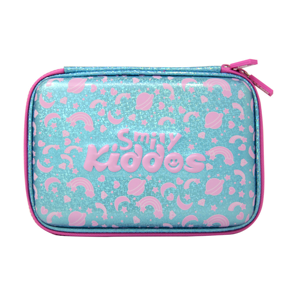 Smily Bling Pencil Case Light Blue