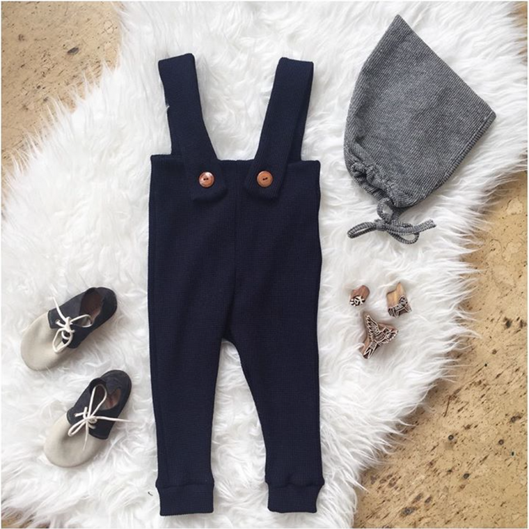 Deep Navy Blue, children's waffle knit high waisted pant romper