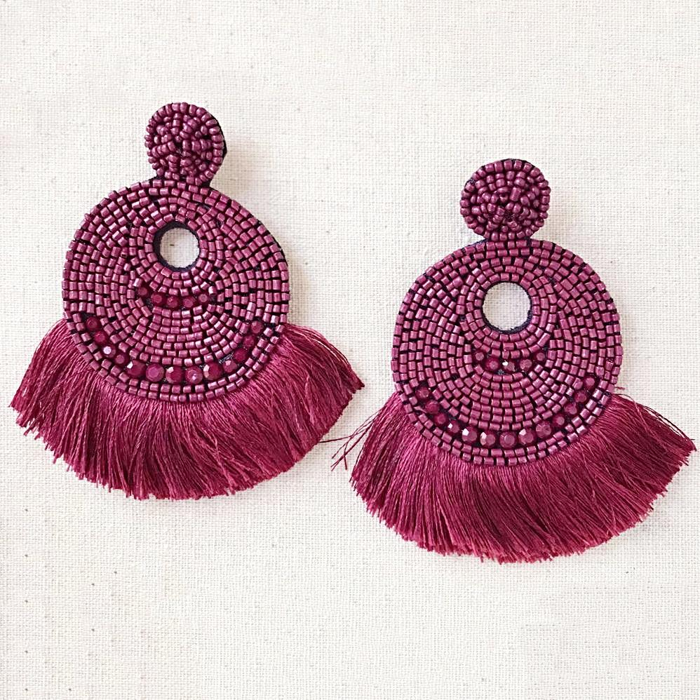 Adriana Beaded Hoops in Burgundy