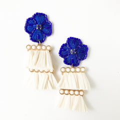 Cha Cha Earrings in Cream and Blue